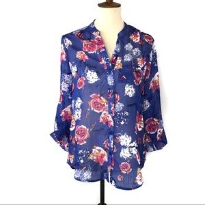 Kut From the Kloth Jasmine Peonies Blue Blouse